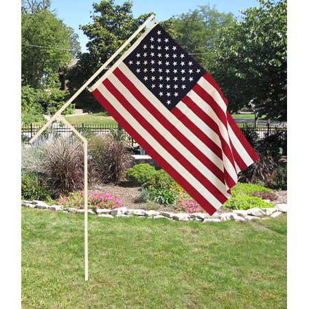 White PVC Flagpole, Made in The USA, Includes 3'x5' Made in USA Flag, Great for Camping, Yard, Tailgating and Much More 24 Pole Flags