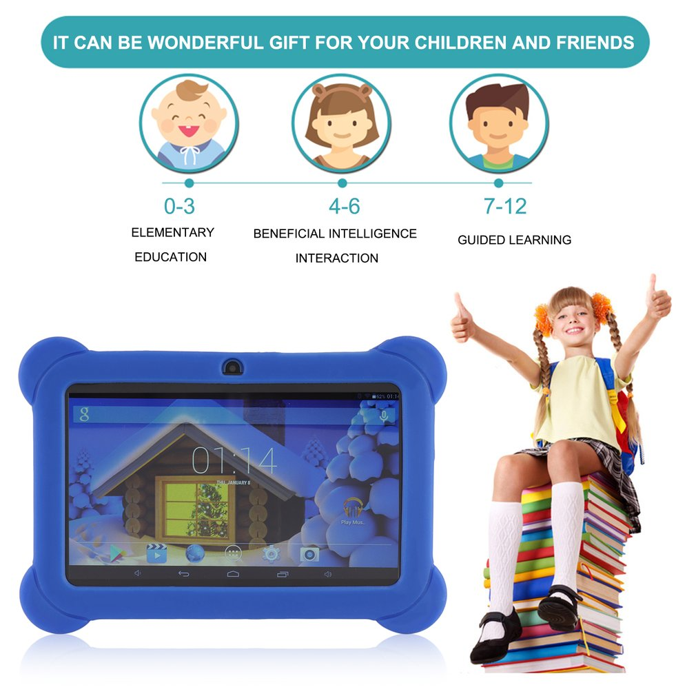 Children 8G Flat Tablet PC With Silicone Cover Case For Kids Gift Game For Google For Android 512MB,7 inch