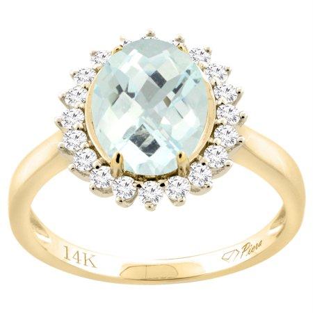 897447edfa417 14K Yellow Gold Diamond Natural Aquamarine Engagement Ring Oval 10x8mm,  size 5