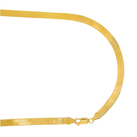 "14k Solid Yellow Gold 5 mm Super Flexible Silky Imperial Herringbone Bracelet, Lobster Claw-7"" 8"""