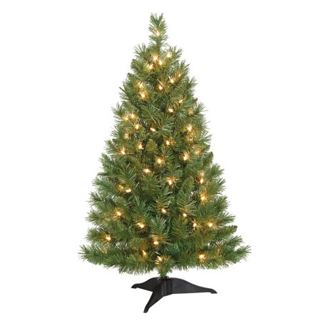 holiday time 3ft pre lit winston pine artificial christmas tree with 70 clear lights