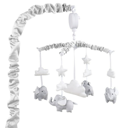 Grey Digital Musical Mobile With Elephants, Clouds and Stars by The Peanut - Elephant Party Mobile
