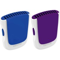 2 PACK O2COOL Necklace Fan with Lanyard, Wearable Clip and Desk Stand - Blue/Purple