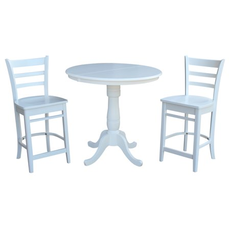 "36"" Round Extension Dining Table 34.9""H With 2 Emily Counterheight Stools - 3 Piece Set - White"