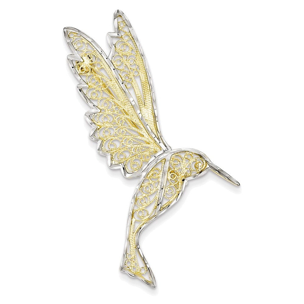 14k & Rhodium Diamond Cut Filigree Hummingbird Pin by