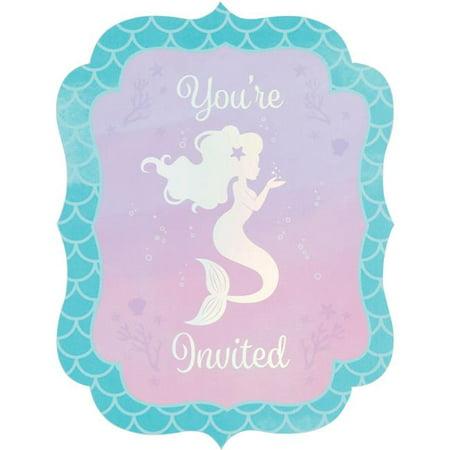 - Creative Converting Mermaid Shine Invitation Postcard, 8 ct