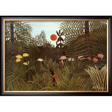 Henri Rousseau Artwork - Virgin Forest Framed Art Print Wall Art  By Henri Rousseau - 28x20