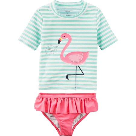e34d1a733 Carters - Carters Infant & Toddler Girls Green Pink Flamingo 2 Pc Rash  Guard Swimming Suit - Walmart.com