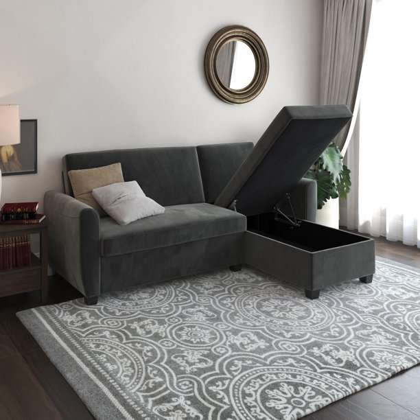DHP Noah Sectional Sofa Bed with Storage, Twin Bed Frame, Gray Velvet