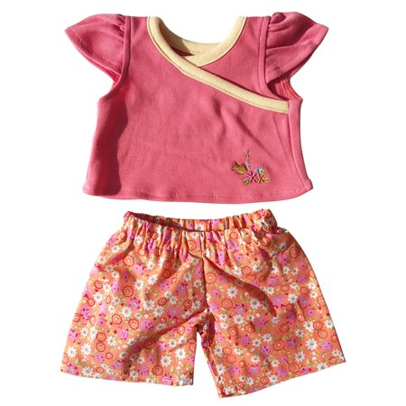 Peach Teddies (Peach Top with Floral Pants Outfit Teddy Bear Clothes Fits Most 14