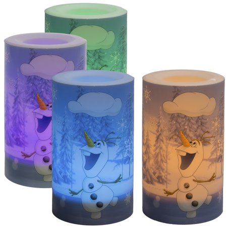 Disney (4 Pack) Frozen Color Changing LED Flameless Candles Unscented Flickering Set