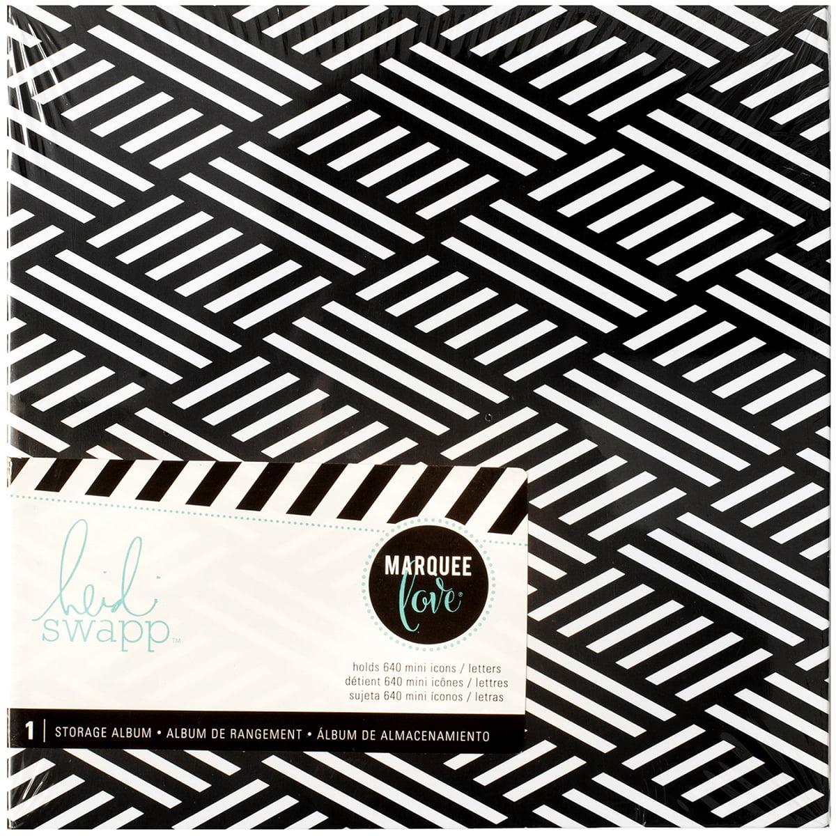 """Heidi Swapp Lightbo x  Mini Insert Storage Album 6.5"""" x 6.5"""" - Black & White, Holds 640 Mini Icons"" HS315037"
