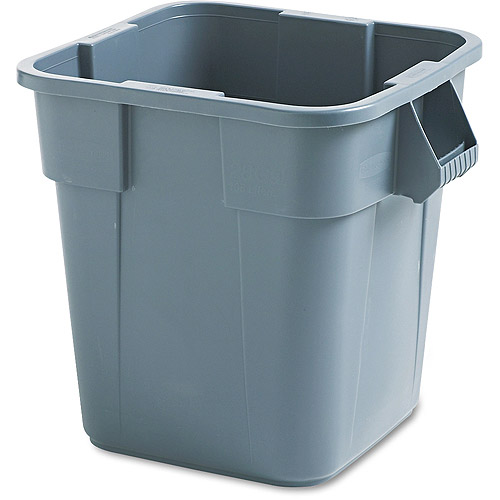 Rubbermaid Commercial Brute Square Gray Polyethylene Container, 28 gal