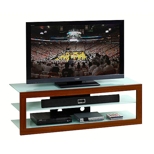 Techni Mobili Naples Frosted Tempered Glass TV Stand, for TVS up to 65""