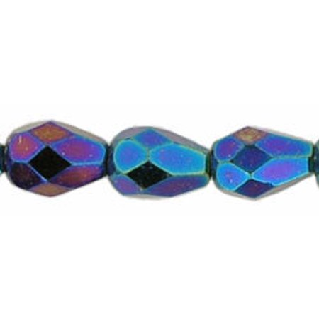 - 7x5mm Fire Polished Teardrop Glass Bead Iris Blue (25)