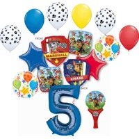 Paw Patrol Party Supplies Chase, Marshal and friends 5th Birthday Balloon Bouquet Decorations