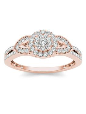 3/8Ct TDW Diamond 10K Rose Gold Cluster Halo Engagement Ring