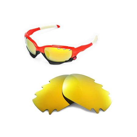 22138d05ee Walleva - Walleva 24K Gold Polarized Vented Replacement Lenses for Oakley  Racing Jacket Sunglasses - Walmart.com