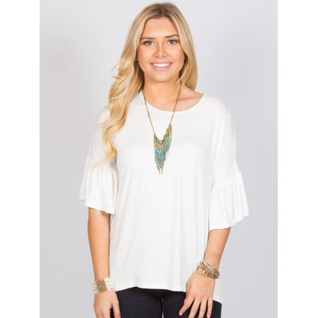 Ruffle Sleeve Top Ivory Large in Ruffle accents Round neckline