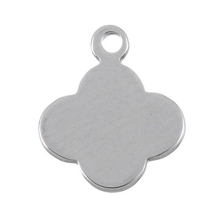 10pcs Stainless Steel Four Leaf Clover Charm Pendant Stamping Blank 13x11mm
