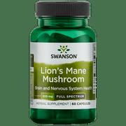 Swanson Lion's Mane Mushroom (Mycelium biomass) Capsules, 500 mg, 60 Ct