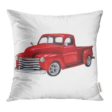 ARHOME Red Old Watercolor Vintage Toy Model Truck White Design Pickup Car Classic Retro Van Pillowcase Cushion Cover 18x18 inch ()