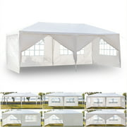 Top Knobs 10'x20' Easy Set Up Canopy Tent with 6 Removable Sidewalls Panels,Folding Instant Wedding Party Outdoor Commercial Event Gazebo Pavilion, White