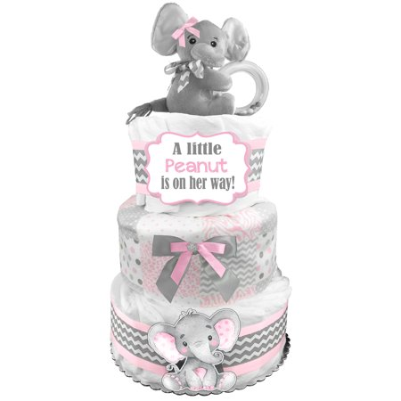 Elephant 3-Tier Diaper Cake - Baby Shower Gift - Centerpiece - Newborn Gift for a Girl - Pink and Gray