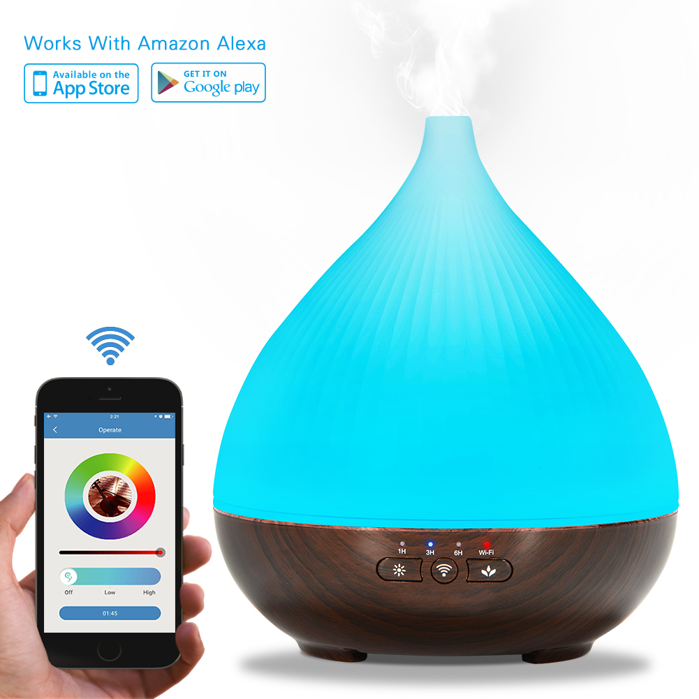 300ml Essential Oil Smell Diffuser, Works with Smart-phone App Control, Compatible with Android and IOS, Cool Mist Aroma Humidifier with 7 Colored LED Lights, Timer Aim, Auto Shut-off