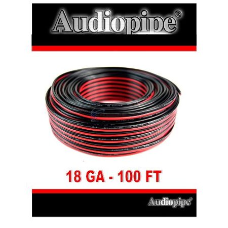 18 Gauge Speaker Wire 100' Red Black Zip Cable Copper Clad Low Voltage (Low Capacitance Wire)