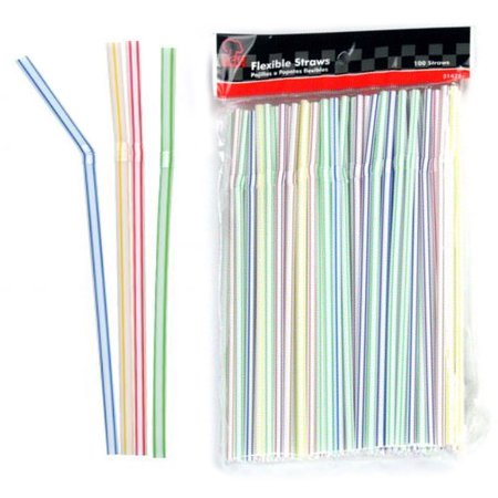 150 Pc Long Flexible Drinking Straws Party Bar Drinking Supplies Plastic