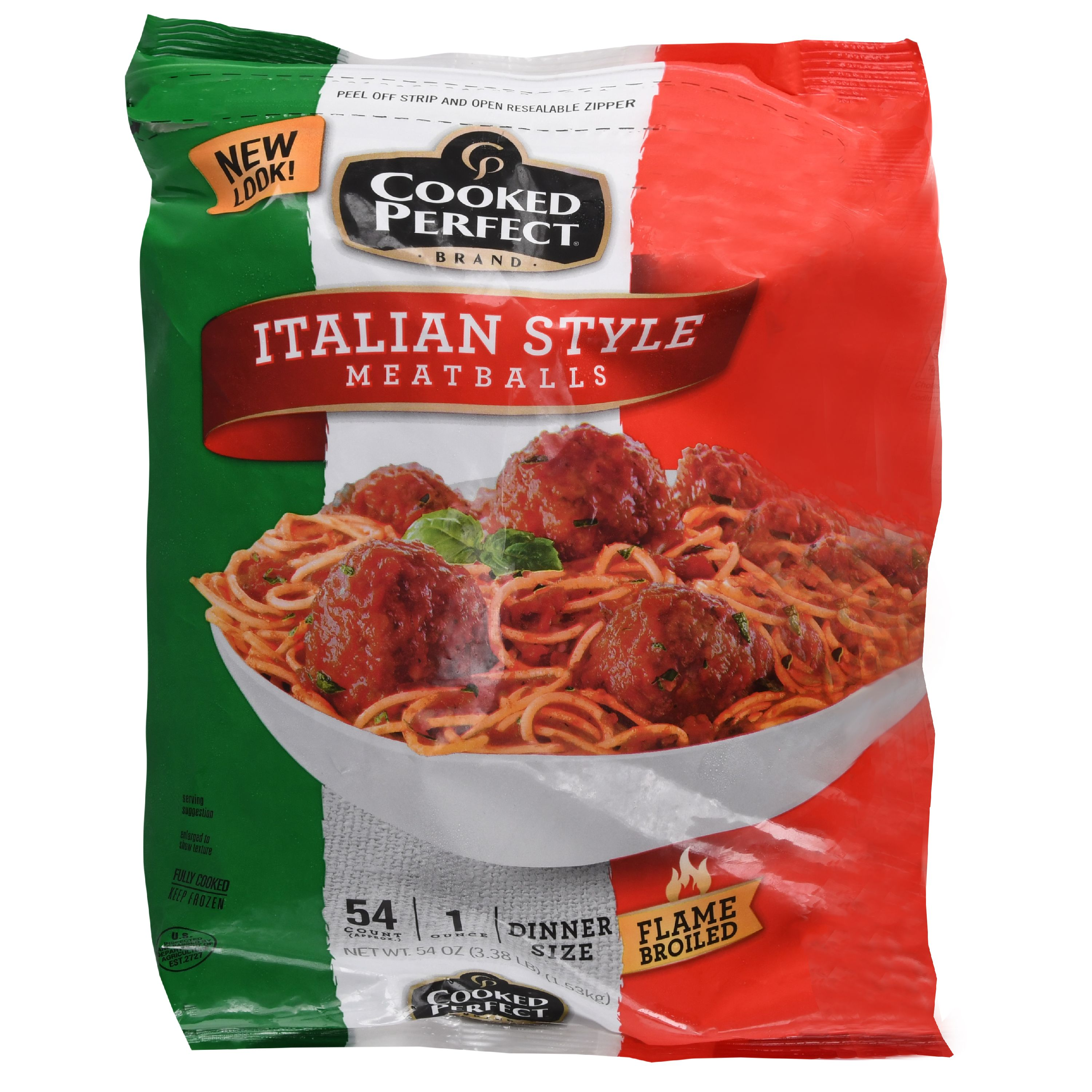 Cooked Perfect Italian Style Meatballs, 3.38 lb Bag