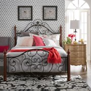 Tribecca Home Madera Graceful Scroll Bronze Iron Metal King Bed by