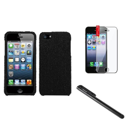 Insten Black Diamond Case Bling Hard Cover For Apple iPhone 5 5s+Pen+Screen Film