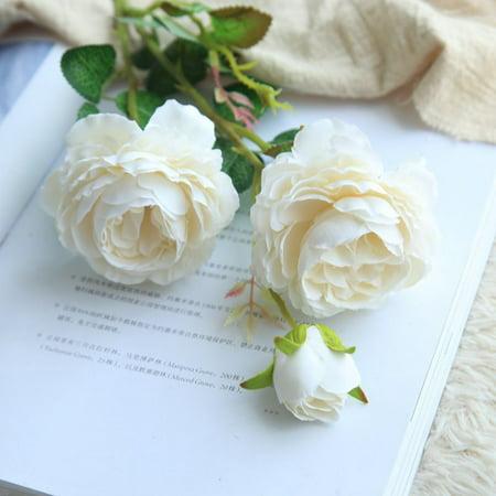 1 Branch 3-head Simulate Silk Bridal Peony Flower Wedding Artificial Flowers Romantic Bouquet (Artificial Flower Peony)