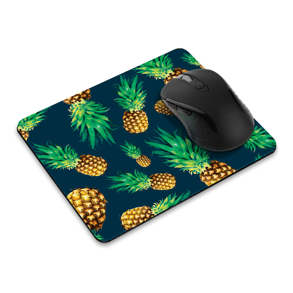 FINCIBO Rectangle Standard Mouse Pad, Fly Pineapple Pattern Dark Blue