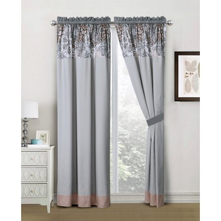 4-Pc Nora Royal Floral Medallion Stripe Curtain Set Silver Gray Rose Pink Drape Sheer Liner (Rose Gray)