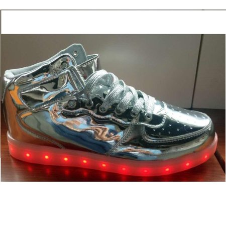 iMeshbean High Top Led Light Up Shoes 7 Color Flashing Rechargeable Sneakers for Mens Womens Girls Boys Couple Best (Best Baby Shops In Singapore)