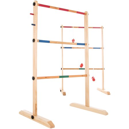 Ladder Toss Game-Wooden Outdoor Set with 6 Bolas and Storage Bag-Great Backyard Activity for BBQ or Tailgate-Fun for Kids and Adults by Hey! (Barnyard Games)