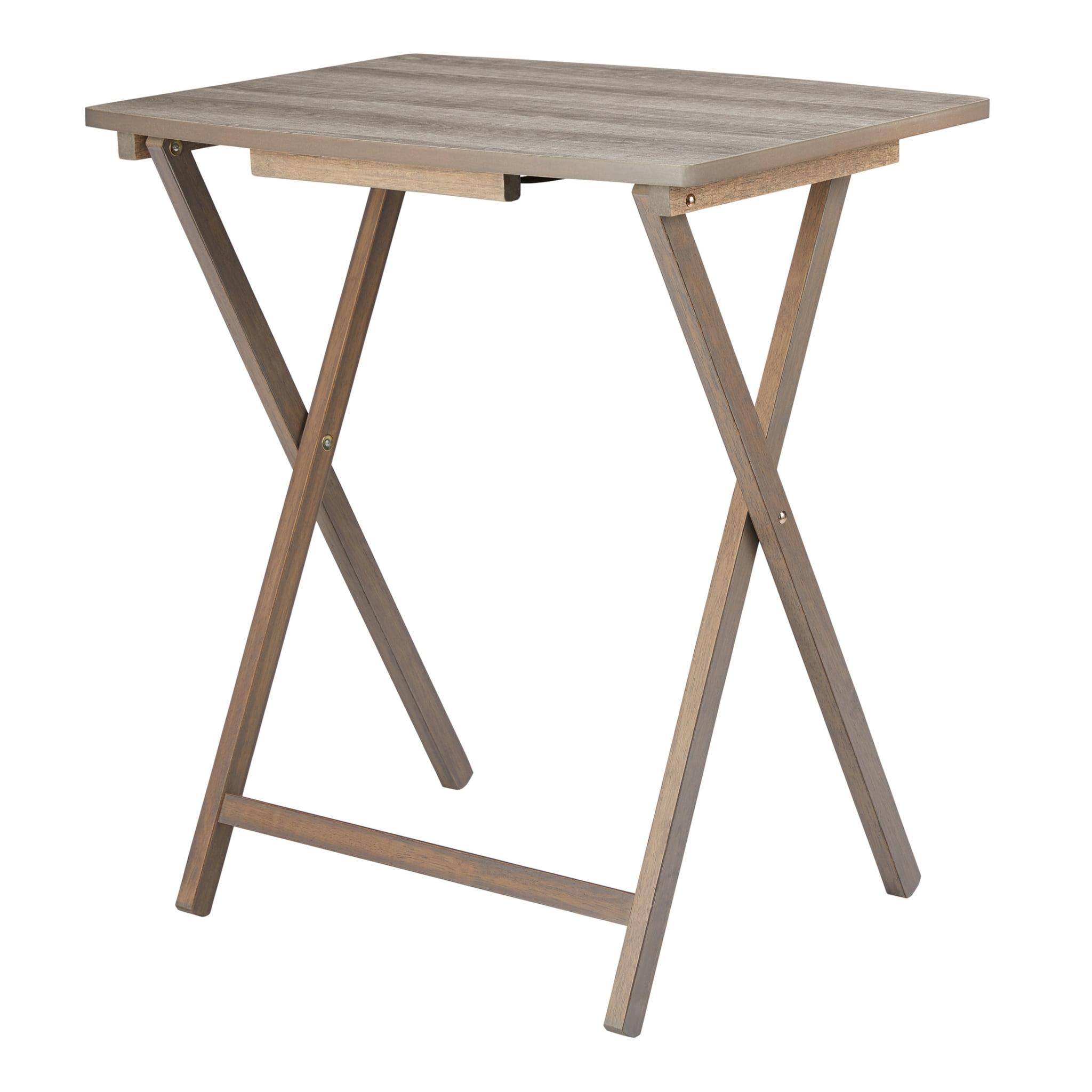 Mainstays Folding Xl Oversized Tray Table Rustic Gray Walmart Com Walmart Com