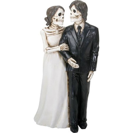 Love Never Dies Skeleton Wedding Bride and Groom Holding Hands Figurine New - Hand Skeleton
