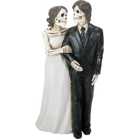 Love Never Dies Skeleton Wedding Bride and Groom Holding Hands Figurine New ()