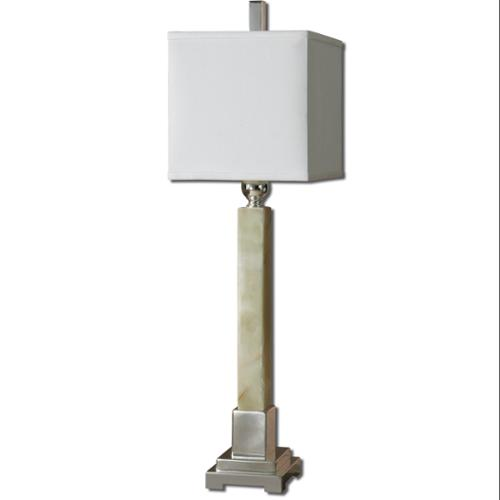 """34"""" Green Marble, Silver Plated Metal & White Square Box Shade Buffet Table Lamp"""
