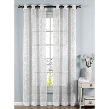 Elena Cotton Blend Burnout Sheer 76 X 96 Grommet Curtain Panel Pair
