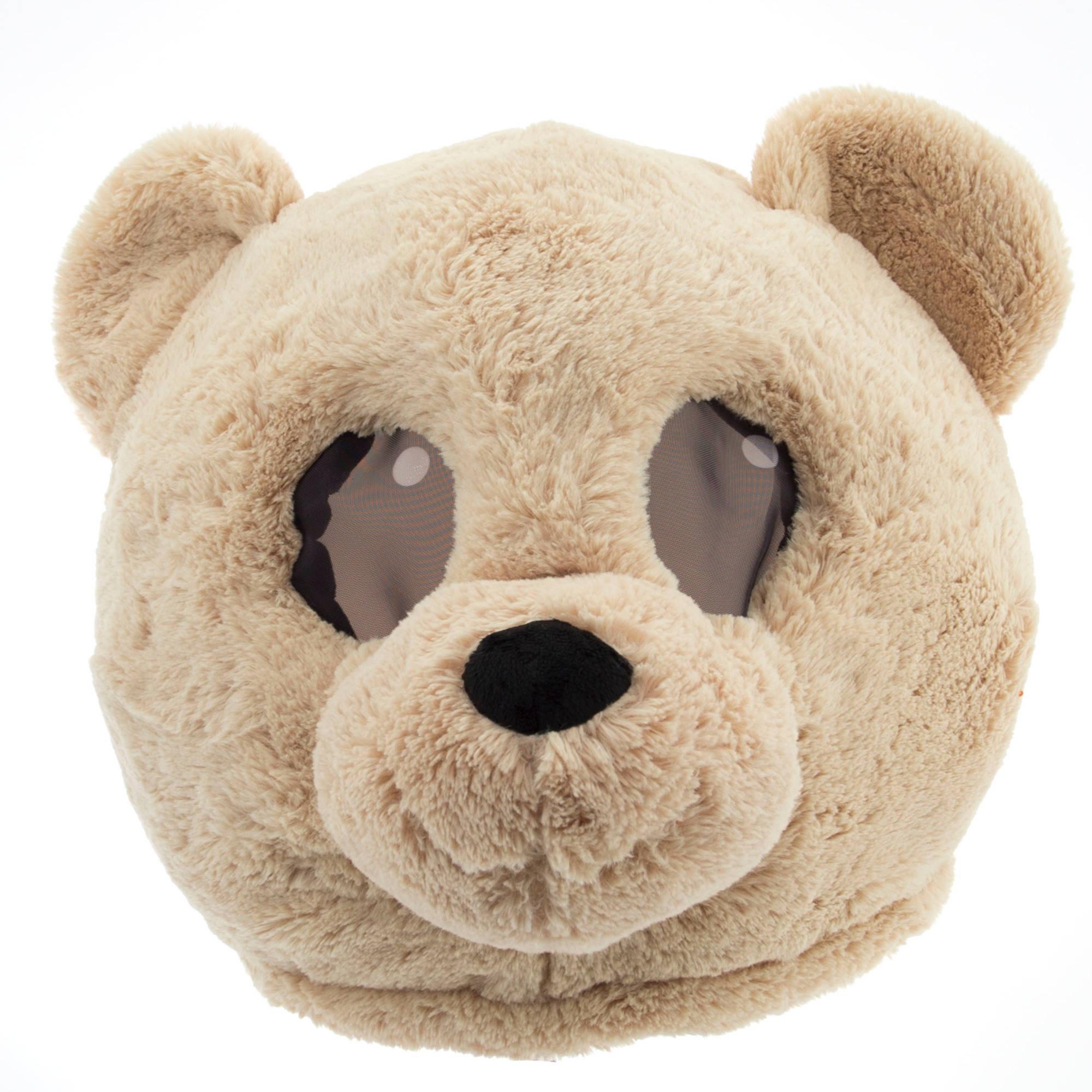 Tan Teddy Maskimal Adorable Large Plush Head Mask Walmart Com