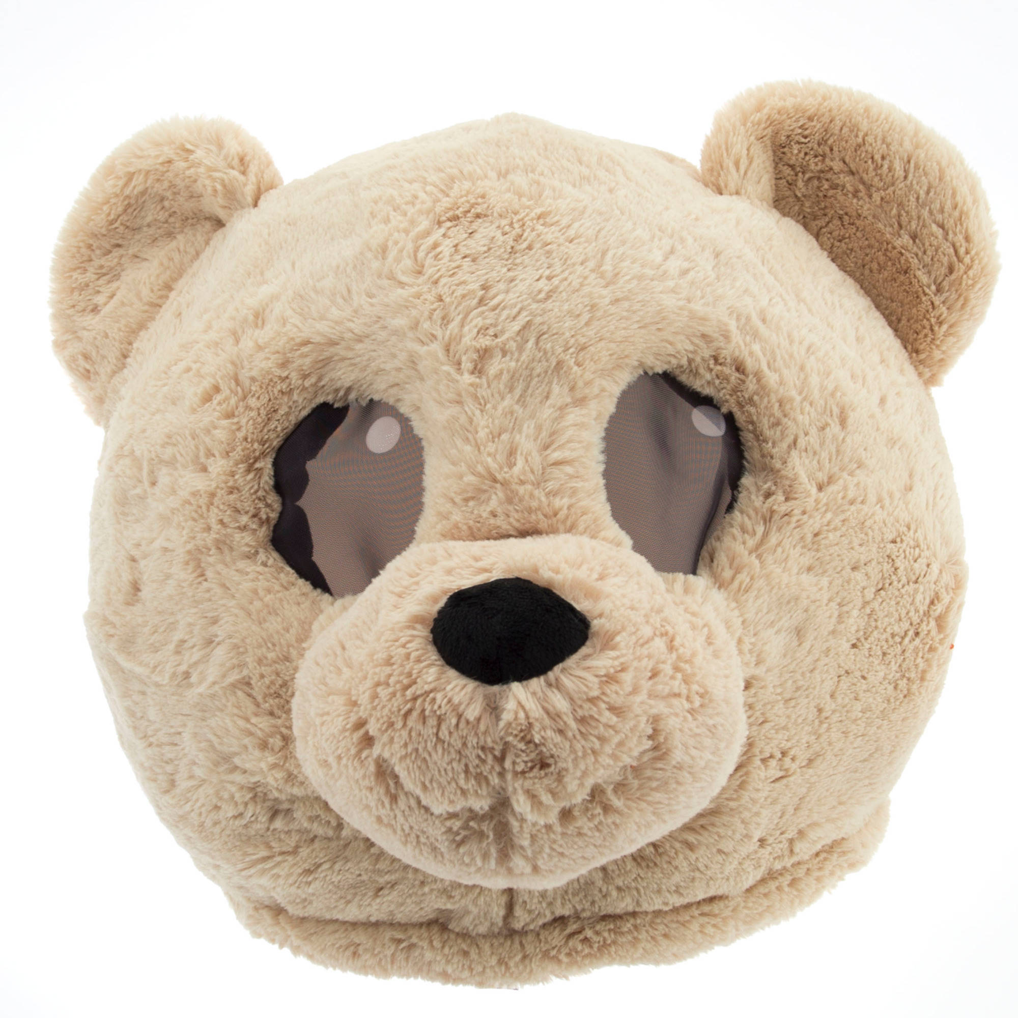 Tan Teddy Maskimal: Adorable Large Plush Head Mask