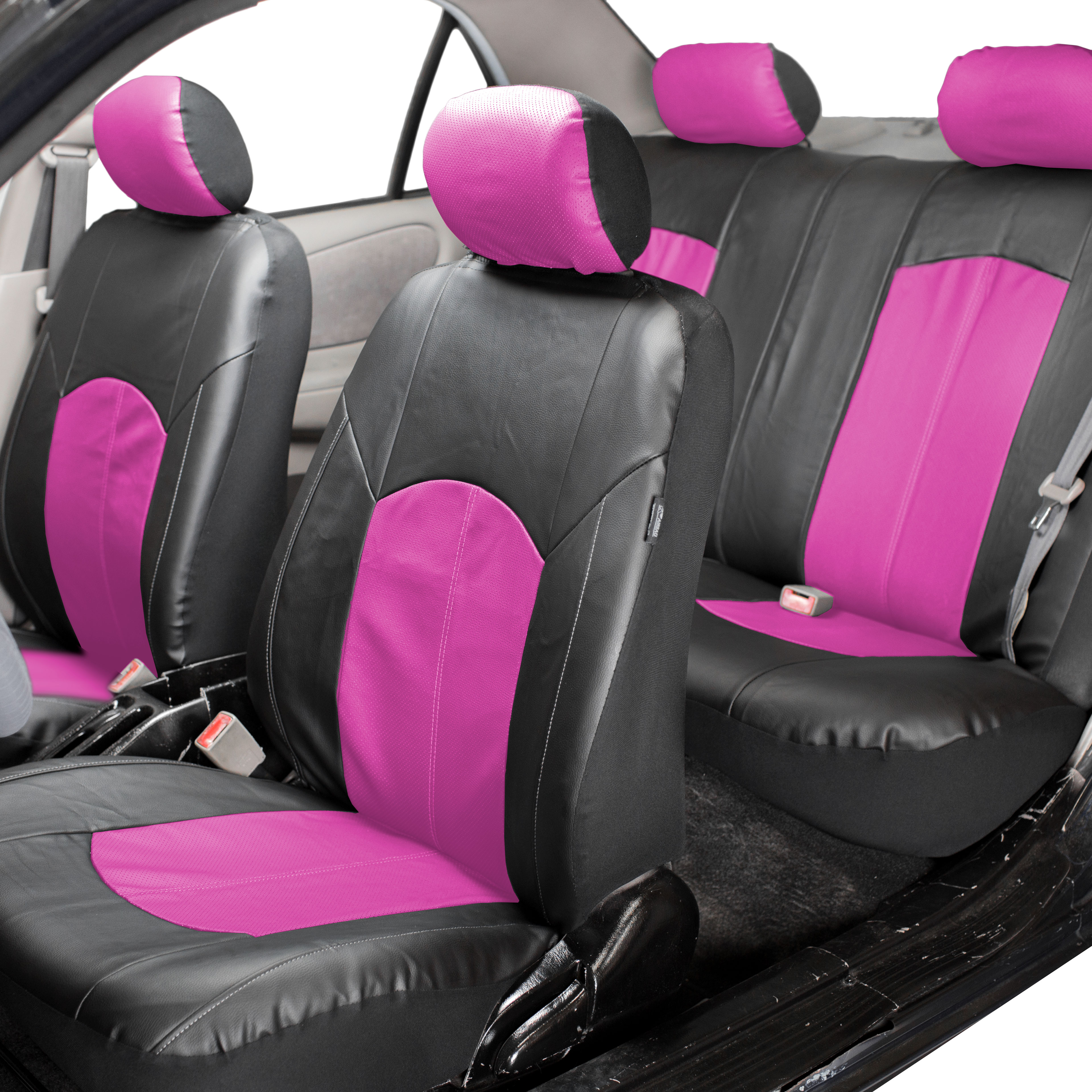 FH Group, Perforated Leather Seat Covers for Auto Car Sedan SUV Van, Full Set with 4 Headrest Covers, 8 Colors