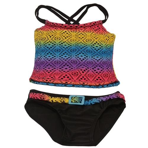 2B Real Little Girls Multi Color Laser Cut Detail 2 Piece Tankini Swimsuit 4
