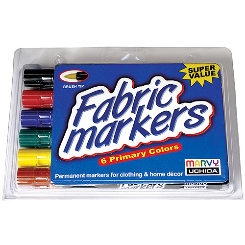 Marvy Uchida Brush-Tip Fabric Markers, Primary Colors, Set of 6