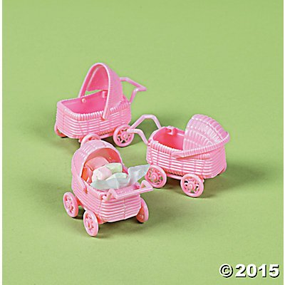 Pink Plastic Carriage Baby Shower - Baby Shower Carriage